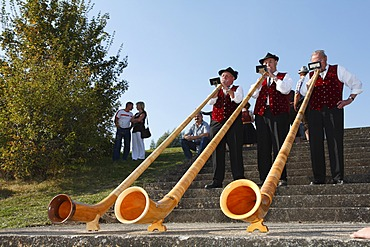Alphorns, Weisbacher Oktoberfest festival, Rhoen, Franconia, Bavaria, Germany
