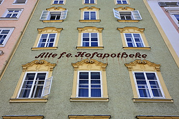 "Neo-classical facade with the writing ""Alte f.e. Hofapotheke"", old court pharmarcy, Alter Markt square, 19th Century, Salzburg, Austria, Europe"