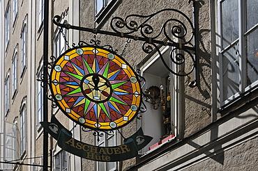Hanging sign of the Aschauer company, hat shop, Salzburg, Salzburg province, Austria, Europe