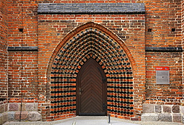 Side entrance of Jacobikirche Church, converted into a three-aisled hall church in the 14th century, An der Jacobikirche square, Greifswald, Mecklenburg-Western Pomerania, Germany, Europe