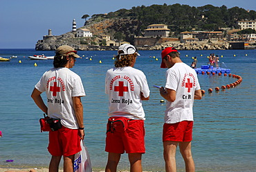 Red Cross lifeguards at the beach of Puerto Soller, Port de Soller, Mallorca, Majorca, Balearic Islands, Mediterranean Sea, Spain, Europe