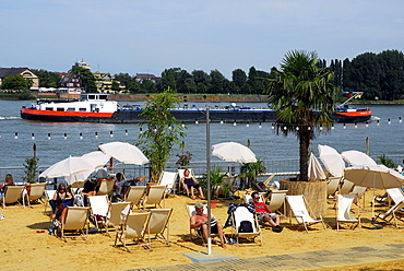 Boat and beach at the Rhine river, Adenauer-Ufer shore, Mainz, Rhineland-Palatinate, Germany, Europe