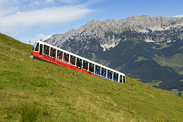 Hartkaiser Funicular Railway, view towards the Wilder Kaiser Mountains, Ellmau, Tyrol, Austria, Europe