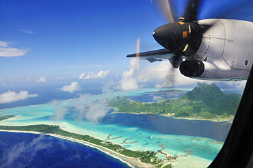Bora Bora from the plane, Leeward Islands, Society Islands, French Polynesia, Pacific Ocean