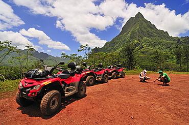 Quad bike tour on Moorea, Windward Islands, Society Islands, French Polynesia, Pacific Ocean