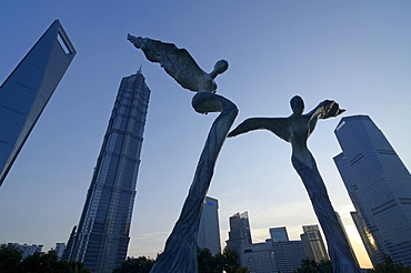 Shanghai World Financial Center, SWFC, Jin Mao Tower, Lujiazui Park, Pudong, Shanghai, China, Asia