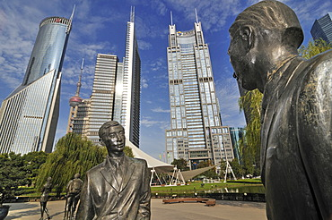 Statues in the Lujiazui Park, Oriental Pearl Tower, Pudong, Shanghai, China, Asia