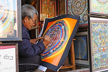 Painter creating a Thangka picture, Changu Narayan, Kathmandu Valley, Nepal, Asia