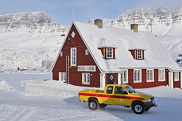 Pickup in front of the Hotel disco, Qeqertarsuaq or Disko Island, Greenland, Arctic North America