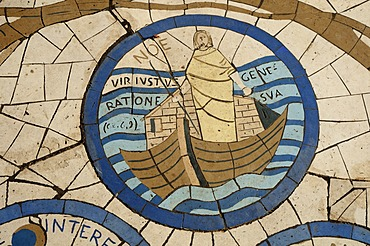 Floor mosaic, Church of the Beatitudes, site of the Sermon on the Mount, Sea of Galilee, Israel, Middle East