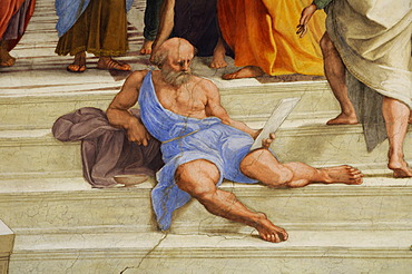 Portrait of Michelangelo, detail from the painting, The School of Athens by Raphael, Stanza della Signatura, Vatican Museums, Rome, Italy, Europe