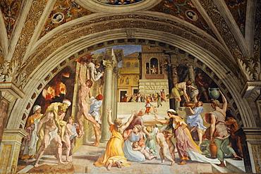 Fresco by Raphael, Stanza dell'Incendio di Borgo, Vatican Museums, Vatican, Rome, Italy, Europe