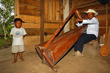 Native musician playing a self-made instrument, harp, small boy, wooden hut, Punta Gorda, Belize, Central America