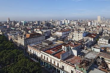 Prado, Paseo de Marti, tree-lined boulevard, panoramic view over the rooftops of Havana, Villa San Cristobal de La Habana, La Habana, Havana, old town, UNESCO World Heritage Site, Republic of Cuba, Caribbean, Central America