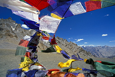Prayer flags flying in the wind at Mt Sengge-La or Sengge Pass, Zanskar, Ladakh, Jammu and Kashmir, North India, India, Indian Himalayas, Asia
