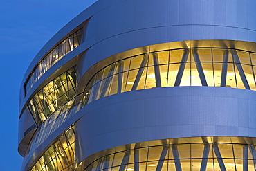 Mercedes-Benz Museum in the evening, illuminated, modern architecture, Daimler, Bad Cannstatt, Stuttgart, Baden-Wuerttemberg, Germany, Europe