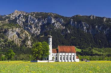 Pilgrimage church of St. Coloman, Schwangau near Fuessen, Bavarian Alps, Allgaeu, Upper Bavaria, Bavaria, Germany, Europe