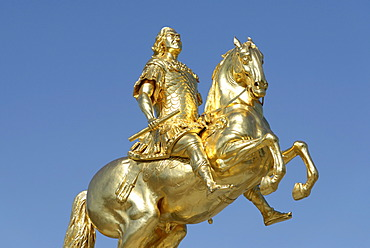 Golden rider statue, Dresden, Florence of the Elbe, Saxony, Germany, Europe