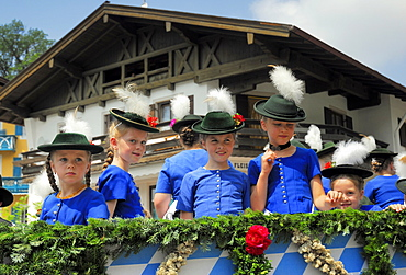 Girls in traditional cothing on a Parade in Upper Bavaria, Bavaria, germany, Europe