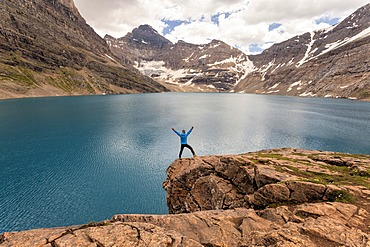 Hiker at Lake McArthur, Yoho National Park, British Columbia, Canada