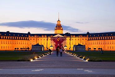 Illuminated Karlsruhe Palace, Karlsruhe, Baden-Wuerttemberg, Germany, Europe
