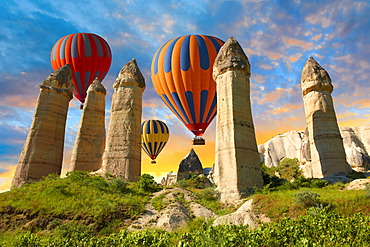 Hot air balloons over the Love Valley at sunrise, Cappadocia, Turkey