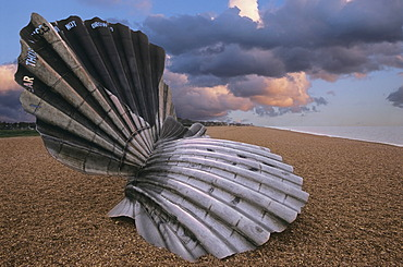 Maggie Hambling shell sculpture to those who drowned at sea, Aldeburgh, Suffolk, England, United Kingdom, Europe