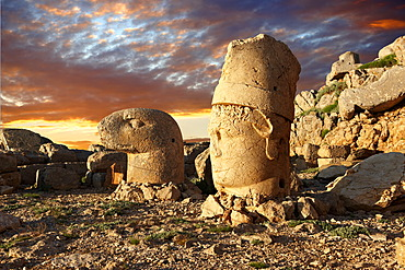Broken statues around the tomb of Commagene King Antiochus 1 on top of Mount Nemrut, Turkey