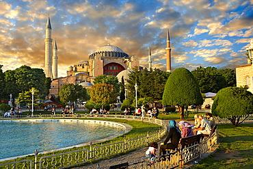The exterior of the 6th century Byzantine, Eastern Roman Hagia Sophia, Ayasofya, built by Emperor Justinian, Istanbul, Turkey