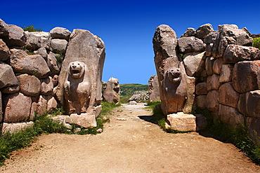 Hittite relief sculpture on the Lion gate to the Hittite capital, Hattusa, Turkey