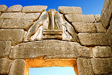 Lion Gate and citadel walls built in 1350 B.C., Mycenae archaeological site, UNESCO World Heritage, Peloponnese, Greece, Europe