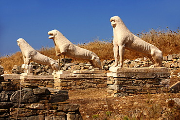 The Avenue of the Lions in the ruins of the Greek city of Delos, Cyclades Islands, Greece, Europe