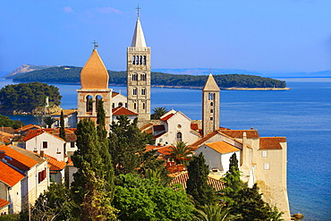 View from St John Church tower over the medieval roof tops of Rab town, Rab Island, Croatia, Europe