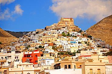 The Venetian city quarter of Ano Syros topped by the Catholic basilica of San Giorgio, Syros, Cyclades Islands, Greece, Europe
