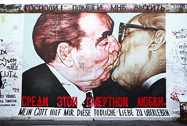 Brotherly kiss between Leonid Brezhnev and Erich Honecker, painting, mural, East Side Gallery, Berlin, Germany, Europe, PublicGround