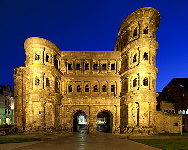 Porta Nigra city gate, north facade, a UNESCO World Heritage site, Trier, Rhineland-Palatinate, Germany, Europe, PublicGround