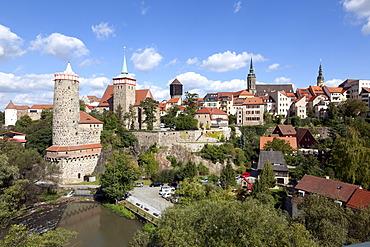 View towards the historic town centre, Bautzen, Budysin, Lusatia, Upper Lusatia, Saxony, Germany, Europe, PublicGround