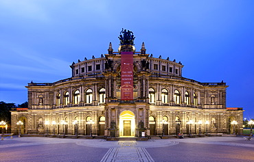 Semper Opera House, Theatreplatz square, Dresden, Saxony, Germany, Europe, PublicGround