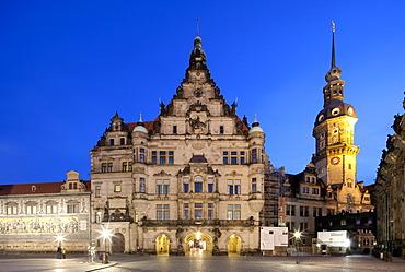 Royal Palace, Hausmannsturm tower, Dresden, Saxony, Germany, Europe, PublicGround