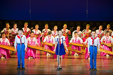Selected children performing in the Children's Palace, Pyongyang, North Korea, Asia