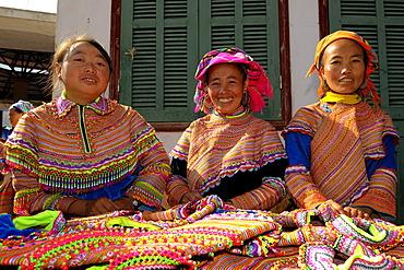 Vietnamese saleswomen, Bac Ha, North Vietnam, Southeast Asia