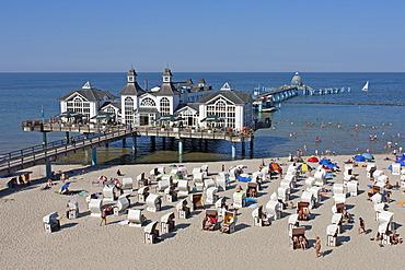 Sellin sea bridge, pier, Ruegen Island, Mecklenburg-Western Pomerania, Germany, Europe