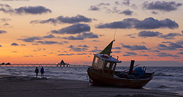 Fishing boat on the beach in the evening, Ahlbeck, Usedom Island, Mecklenburg-Western Pomerania, Germany, Europe
