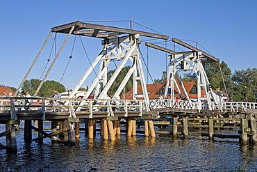 Hollaenderbruecke bascule bridge, Wiek, Greifswald, Mecklenburg-Western Pomerania, Germany, Europe