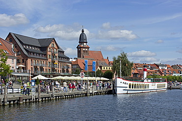 Boat harbour, Waren, Mecklenburg Lake District, Mecklenburg-Western Pomerania, Germany, Europe