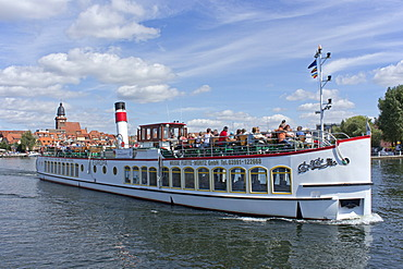 Excursion boat, harbour, Waren, Mecklenburg Lake District, Mecklenburg-Western Pomerania, Germany, Europe