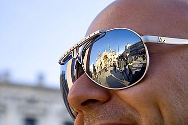 Reflection of Basilica di San Marco, St. Mark\'s Basilica, in a pair of sunglasses, Venezia, Venice, Italy, Europe