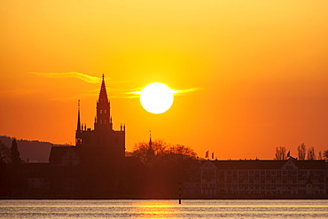 Constance Cathedral, Muenster, at sunset, Konstanz, Constance, Baden-Wuerttemberg, Germany, Europe, PublicGround
