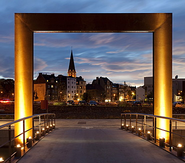 Entrance to Kulturinsel, the cultural island in Phoenix Lake with views towards the Hoerde district at dusk, Dortmund, North Rhine-Westphalia, Germany, Europe, PublicGround