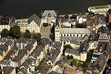 Aerial view, historic district of Koblenz with Florinsmarkt square and Florinskirche church, Koblenz, Rhineland-Palatinate, Germany, Europe